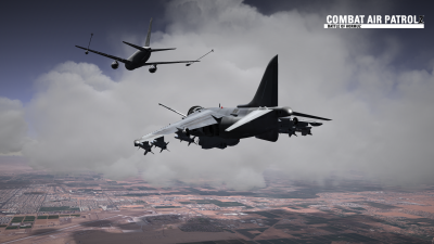 CAP2 flight simulator screenshot of Harrier refueling over MCAS Yuma with clouds